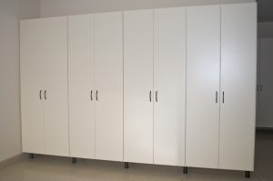 White Garage Cabinets with Matte Black Legs