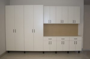 White Garage Cabinets with Matte Black Legs 2