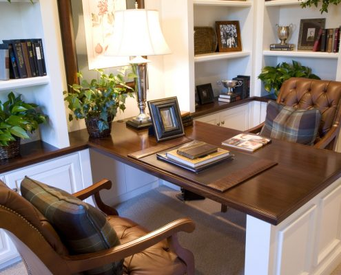 White Home Office with Stained Wood Countertop